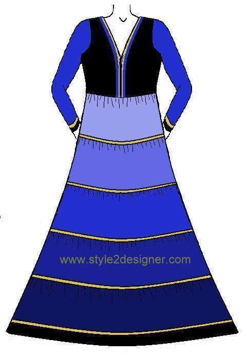 Anarkali with Horizontal panel design