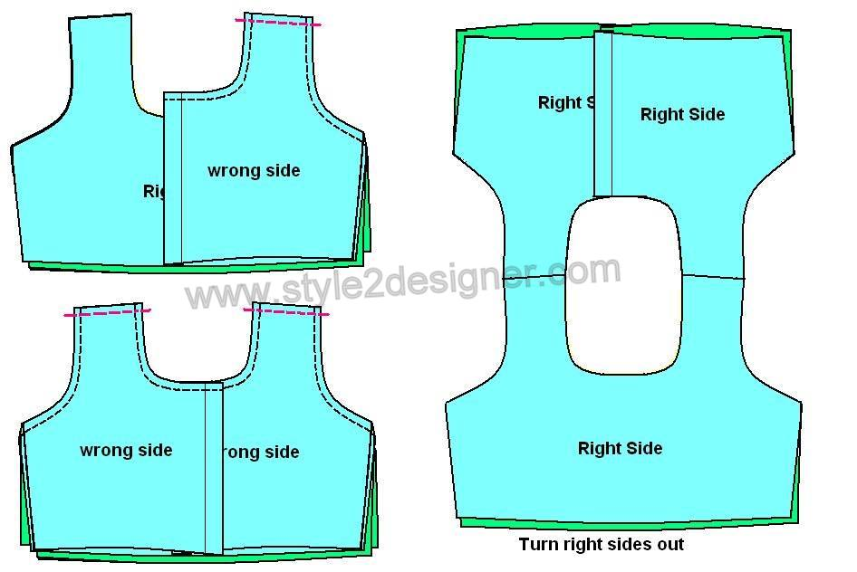 Turn the front part right side out and press with iron. Insert the front part shoulder portion to the back (by facing the right side of main fabrics both front and back parts together) part as shown in pictures and sew to join the shoulders. Turn right side out and press.