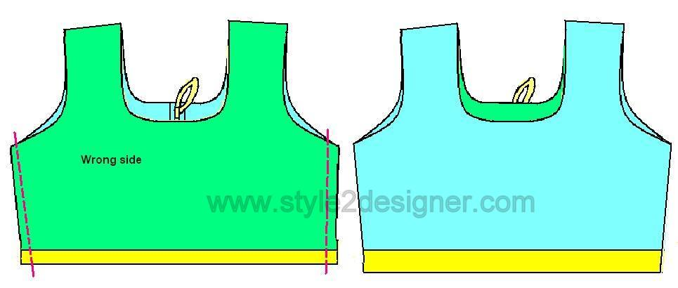 Now sew along the both side seams by 1cm to attach sides.