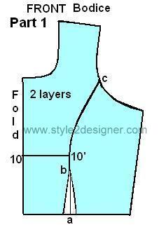 Princess cut bodice cutting
