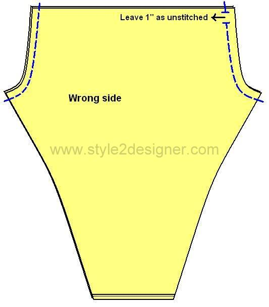 "3.Place two pieces by facing right sides together and sew along the Crotch curve on both sides. Leave 1"" unstitched as mentioned in the picture at any one side. Press crotch curve seams open."