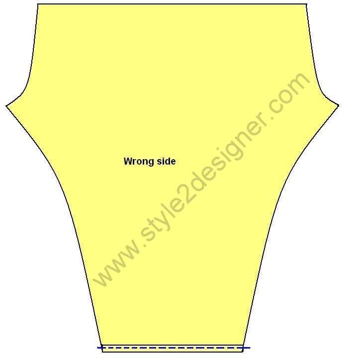 "2.Fold ¼"" on bottom of leg piece inside and fold again ¼"". Then sew along hem line. Do it again in other leg piece."