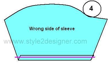 "4. Fold the hemline of sleeve by ¼"" inside and fold again ¾"" inside and sew along the hemline at the edge of first folding."