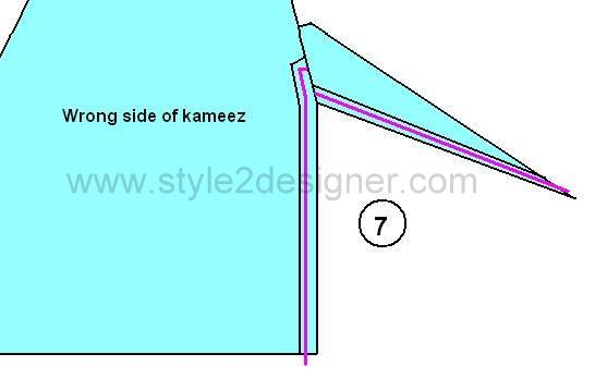 "7.Fold at the slit opening ¼"" inside and fold ¼"" again. Then sew along the slit opening of both sides. Press with iron."